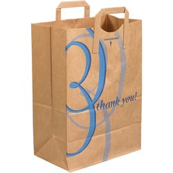 "12 x 7 x 17"" - ""Thank You"" Flat Handle Grocery Bags"