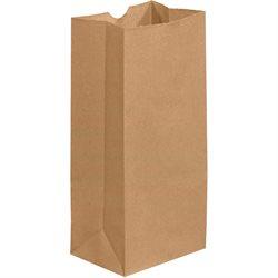 """5 1/4 x 3 7/16 x 10 15/16"""" Kraft Grocery Bags"""