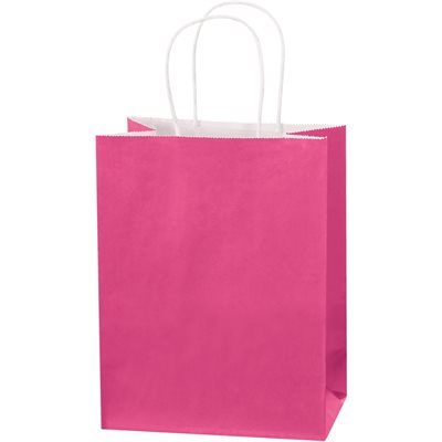 """8 x 4 1/2 x 10 1/4"""" Cerise Tinted Shopping Bags"""