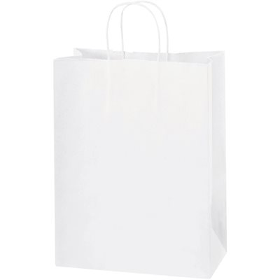 "10 x 5 x 13"" White Paper Shopping Bags"