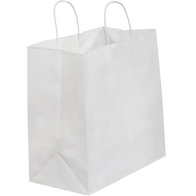 "13 x 7 x 13"" White Shopping Bags"