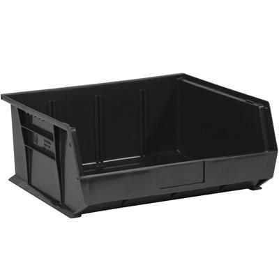 "14 3/4 x 16 1/2 x 7"" Black Plastic Stack & Hang Bin Boxes"