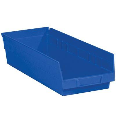 "17 7/8 x 6 5/8 x 4"" Blue Plastic Shelf Bin Boxes"