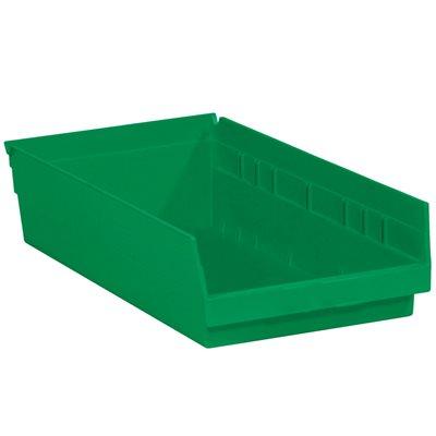 "17 7/8 x 11 1/8 x 4"" Green Plastic Shelf Bin Boxes"