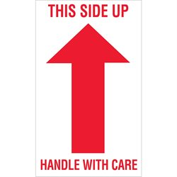 """3 x 5"""" - """"This Side Up - Handle With Care"""" Arrow Labels"""