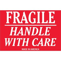 """2 x 3"""" - """"Fragile - Handle With Care"""" Labels"""