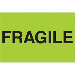 "2 x 3"" - ""Fragile"" (Fluorescent Green) Labels"