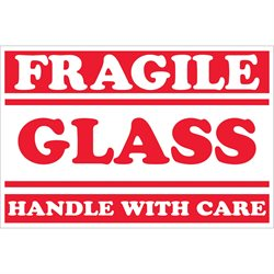 """2 x 3"""" - """"Fragile - Glass - Handle With Care"""" Labels"""