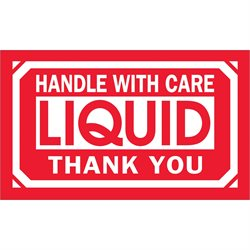 """3 x 5"""" - """"Handle With Care - Liquid - Thank You"""" Labels"""