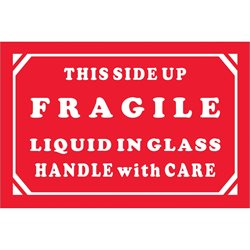 """2 x 3"""" - """"Fragile - Liquid In Glass - Handle With Care"""" Labels"""