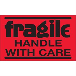 """3 x 5"""" - """"Fragile - Handle With Care"""" (Fluorescent Red) Labels"""