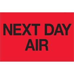 """2 x 3"""" - """"Next Day Air"""" (Fluorescent Red) Labels"""