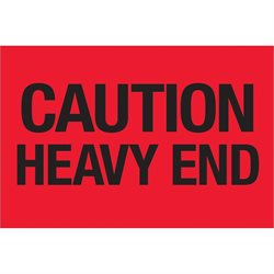 """2 x 3"""" - """"Caution - Heavy End"""" (Fluorescent Red) Labels"""