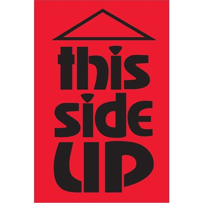 """2 x 3"""" - """"This Side Up"""" (Fluorescent Red) Labels"""