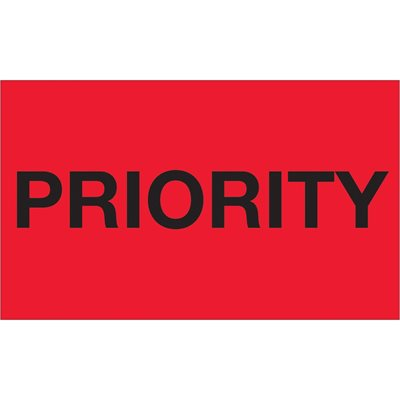 """3 x 5"""" - """"Priority"""" (Fluorescent Red) Labels"""