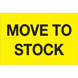 "2 x 3"" - ""Move To Stock"" (Fluorescent Yellow) Labels"