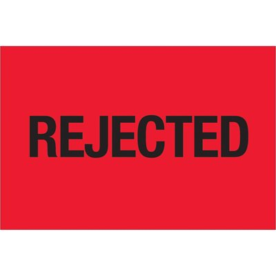 """2 x 3"""" - """"Rejected"""" (Fluorescent Red) Labels"""