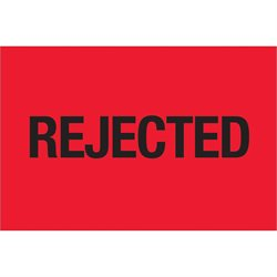 "2 x 3"" - ""Rejected"" (Fluorescent Red) Labels"