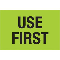 "2 x 3"" - ""Use First"" (Fluorescent Green) Labels"