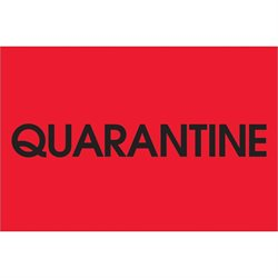 "2 x 3"" - ""Quarantine"" (Fluorescent Red) Labels"