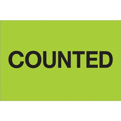 """2 x 3"""" - """"Counted"""" (Fluorescent Green) Labels"""