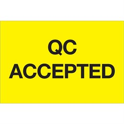 "2 x 3"" - ""QC Accepted"" (Fluorescent Yellow) Labels"
