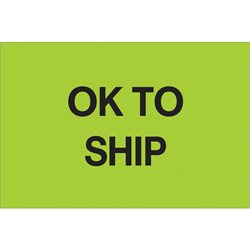 "2 x 3"" - ""OK To Ship"" (Fluorescent Green) Labels"