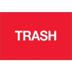"2 x 3"" - ""Trash"" (Fluorescent Red) Labels"