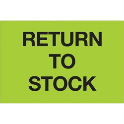 "2 x 3"" - ""Return To Stock"" (Fluorescent Green) Labels"