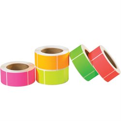 "2 x 4"" Fluorescent Packs Inventory Rectangle Labels"