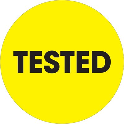 """2"""" Circle - """"Tested"""" Fluorescent Yellow Labels"""