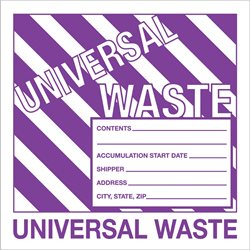"6 x 6"" - ""Universal Waste"" Labels"