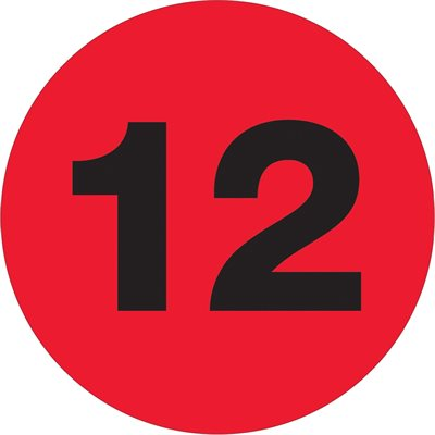"""3"""" Circle - """"12"""" (Fluorescent Red) Number Labels"""