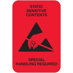 "2 x 3"" - ""Static Sensitive Contents"" (Fluorescent Red) Labels"