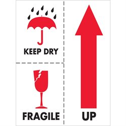 "3 x 4"" - ""Keep Dry Fragile"" Labels"