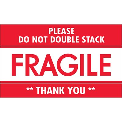 """3 x 5"""" - """"Fragile - Do Not Double Stack"""" Labels"""