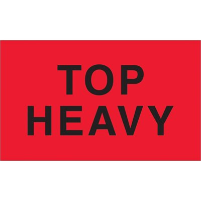 """3 x 5"""" - """"Top Heavy"""" (Fluorescent Red) Labels"""