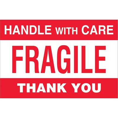 """4 x 6"""" - """"Fragile - Handle With Care"""" Labels"""