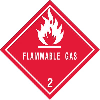 """4 x 4"""" - """"Flammable Gas - 2"""" Labels"""