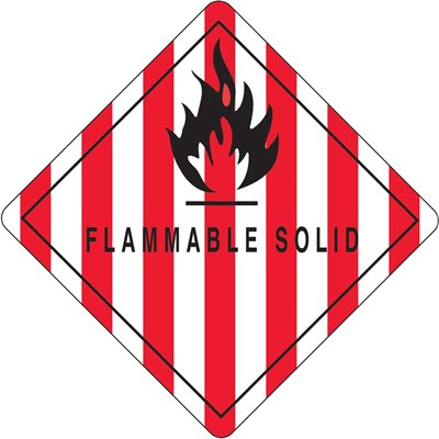 """4 x 4"""" - """"Flammable Solid"""" Labels"""
