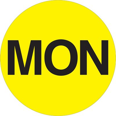 """2"""" Circle - """"FRI"""" (Fluorescent Red) Days of the Week Labels"""