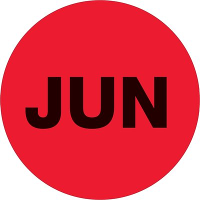 """1"""" Circle - """"JUN"""" (Fluorescent Red) Months of the Year Labels"""