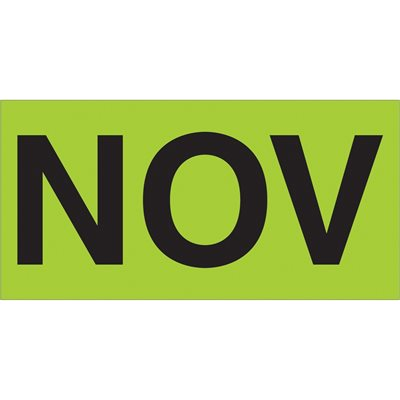 """3 x 6"""" - """"NOV"""" (Fluorescent Green) Months of the Year Labels"""