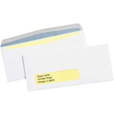 """3 7/8 x 8 7/8"""" - #9 Window Gummed Business Envelopes with Security Tint"""