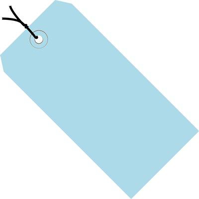 "3 1/4 x 1 5/8"" Light Blue 13 Pt. Shipping Tags - Pre-Strung"