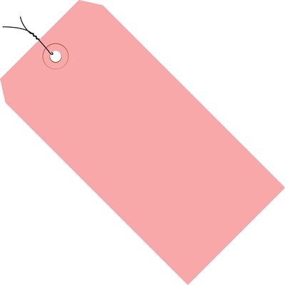 """4 1/4 x 2 1/8"""" Pink 13 Pt. Shipping Tags - Pre-Wired"""