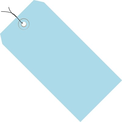 """6 1/4 x 3 1/8"""" Light Blue 13 Pt. Shipping Tags - Pre-Wired"""
