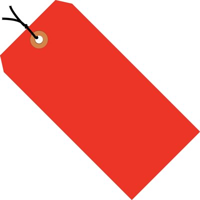 """4 3/4 x 2 3/8"""" Fluorescent Red 13 Pt. Shipping Tags - Pre-Strung"""