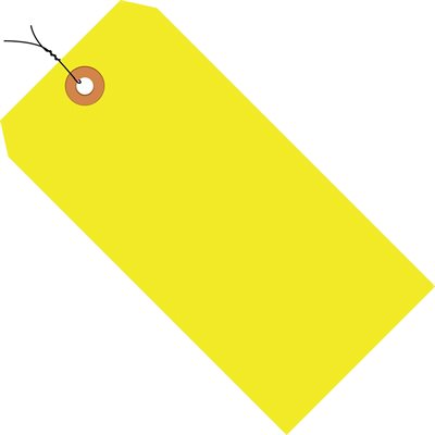 """4 3/4 x 2 3/8"""" Fluorescent Yellow 13 Pt. Shipping Tags - Pre-Wired"""