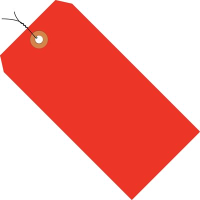 """4 3/4 x 2 3/8"""" Fluorescent Red 13 Pt. Shipping Tags - Pre-Wired"""